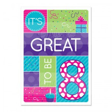 """Girl """"Great to be 8″ Baptism Card *"""