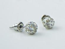 White Sparkle Baptism Earrings *