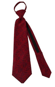 Angel Moroni Red Paisley Boy Zipper Tie ages 4-10