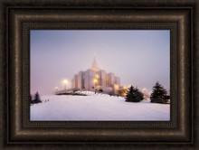 Calgary Temple - Morning Fog 22x16 framed giclee canvas