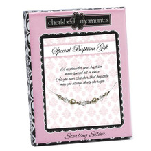 Sterling Silver Baptism Necklace w/Pearl Heart *