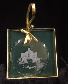 Glass Temple Ornament Etched Calgary