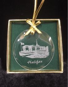Glass Temple Ornament Etched Halifax