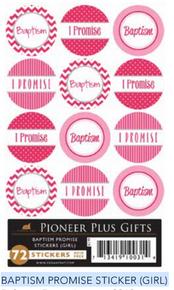 "Baptism Promise  Sticker Girl (Pack of 72 x 1"") *"