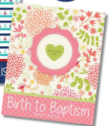 Birth to Baptism Baby Book Girl - floral (Hardcover) *