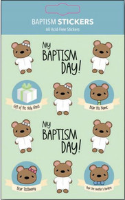 "Baptism Bear Stickers (Pack of 60 x 1"") *"