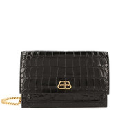 Balenciaga Sharp Croc-Embossed Chain Shoulder Bag (Black)