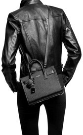 Saint Laurent Sac de Jour Pebbled Leather Tote Bag (Black)