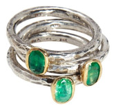 Condemned to Be Free Sterling Silver Emerald Stackable Rings with 24k Gold Accents