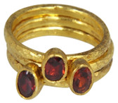 Condemned to Be Free Hammered 24k Vermeil Garnet Stackable Rings