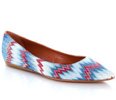 Missoni Point Toe Ballet Flat (Light Blue/Red)