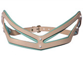 Fleet Ilya Leather Angular Slim Cut Out Belt (Peppermint)