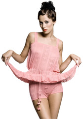 Afterwear Knit Pointelle Chemise & Culotte Set (Pink)