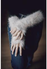 Ambika English Angora Fur Long Fingerless Gloves