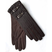 Hilts-Willard Ladies Woven Lambskin Gloves (Brown)