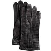 Hilts-Willard Men's Croc-Embossed Lambskin Gloves (Black)