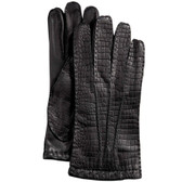 Hilts-Willard Men's Croc-Embossed Lambskin Gloves (Black)