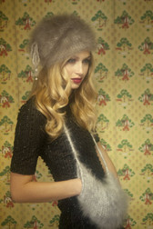 English Angora Fur Drawstring Hat & Neckwarmer