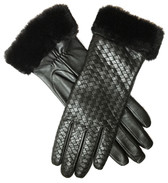 Hilts-Willard Ladies Woven Lambskin Fur Cuff Gloves (Black)