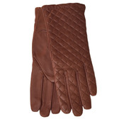 Hilts-Willard Ladies Quilted Lambskin Gloves (Brown)