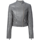 MICHAEL Michael Kors Cropped Leather Moto Jacket