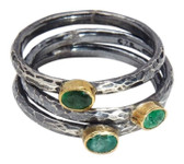 Condemned to Be Free Oxidized Silver Emerald Stackable Rings with 24k Gold Accents