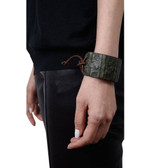 Condemned to Be Free Matte Crocodile Leather Tie Cuff