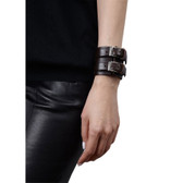 Condemned to Be Free Buffalo Leather Double Buckle Wrap Cuff