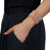 Condemned to Be Free Pink Swarovski Crystal Beaded Leather Cuff