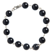 Condemned to Be Free Sterling Silver Onyx Bead Bracelet