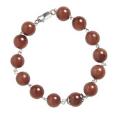 Condemned to Be Free Silver Goldstone Bead Bracelet