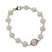 Condemned to Be Free Silver Pearl Bracelet (Blush Pink)