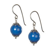 Condemned to Be Free Silver Cap Lapis Bead Drop Earrings