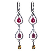 Condemned to Be Free Silver & 24k Gold Ruby Chandelier Earrings
