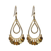 Condemned to Be Free 24k Vermeil Hammered Disc Teardrop Chandelier Earrings