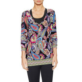 Trina Turk Paisley V-neck Tunic Top
