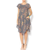 Circle Print Asymmetrical Cotton Dress