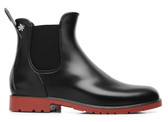 Meduse Chelsea Rubber Rain Boot (Black/Red)