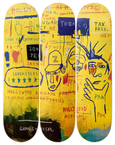 Jean-Michel Basquiat 'Hollywood Africans' Skateboard Triptych