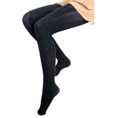 French Curve Cable Knit Tights (Navy)