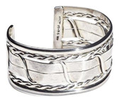 Condemned to Be Free Silver Braided Swirls Cuff Bracelet