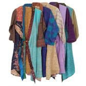 One-of-a-Kind Patchwork Silk Sari Kimono Robe