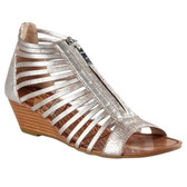 Matiko Distressed Metallic Leather Strappy Wedge Sandal