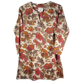 Leaf Print Cotton Tunic Coverup