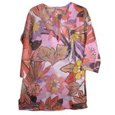 Sheer Tropical Floral Tunic Coverup