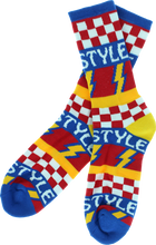 Bro Style - Style Lightening Bolt Crew Socks - blue 1 Pair