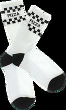Pizza - Check Crew Socks Wht/blk 1 Pair