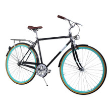 ZF Bikes - Civic Mens City Bike - Black Celeste