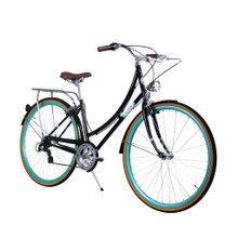 ZF Bikes - Civic Womens City Bike - Black Skies 7Speed
