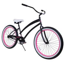 ZF Bikes - Beach Cruiser Bike - Cheetah - Black / Pink